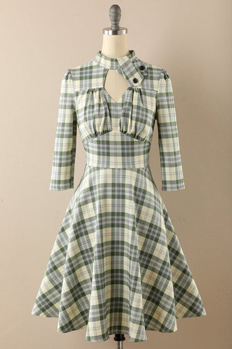 Retro Style Plaid Dress with Keyhole