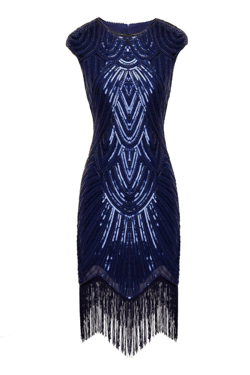 Load image into Gallery viewer, Navy Sequin 1920s Fringe Flapper Dress