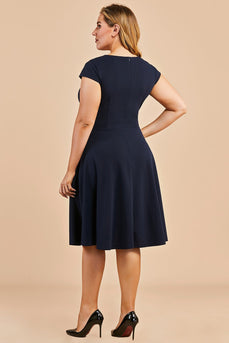 Navy Plus Size Vintage Swing Dress