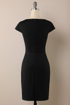Black 1960s Pencil Dress with Button