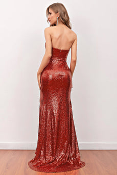 Red Sequin Mermaid Long Prom Dress