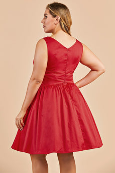 Red V-neck Plus Size Swing Dress