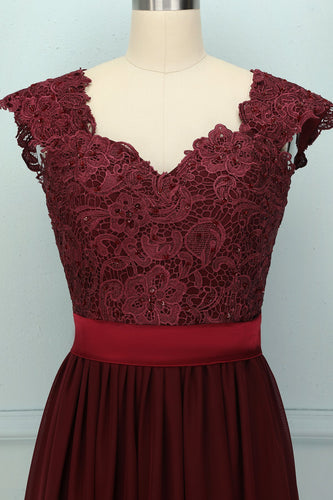 Dark Red Lace Dress - ZAPAKA