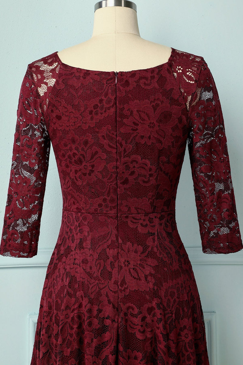 Load image into Gallery viewer, Dark Red Lace Midi - ZAPAKA