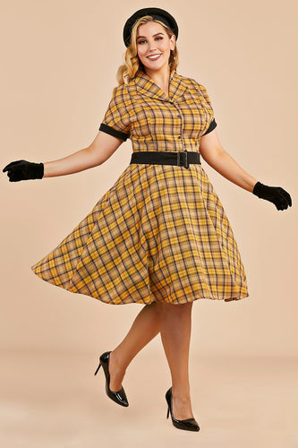Yellow Plaid 1950s Vintage Dress