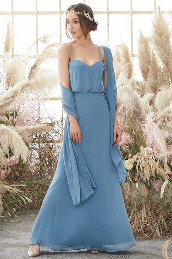 Baby Blue Long Chiffon Bridesmaid Dress