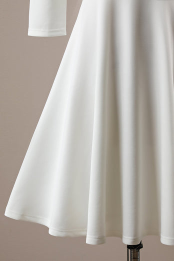Off Shoulder White Midi Dress