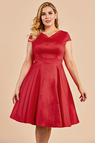 Red Vintage Swing Plus Size Dress