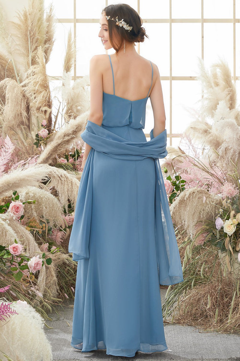 Load image into Gallery viewer, Baby Blue Long Chiffon Bridesmaid Dress