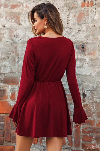 Burgundy V Neck Casual Dress