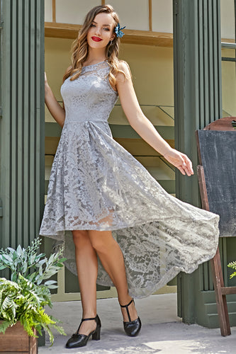 Grey Asymmetry Lace Dress