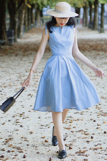 Blue Shoulder Bow Dress