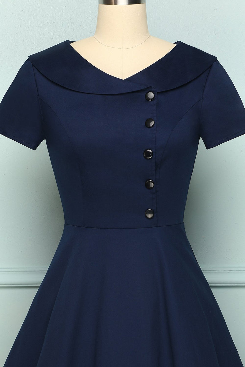 Load image into Gallery viewer, Navy Blue Button Dress - ZAPAKA