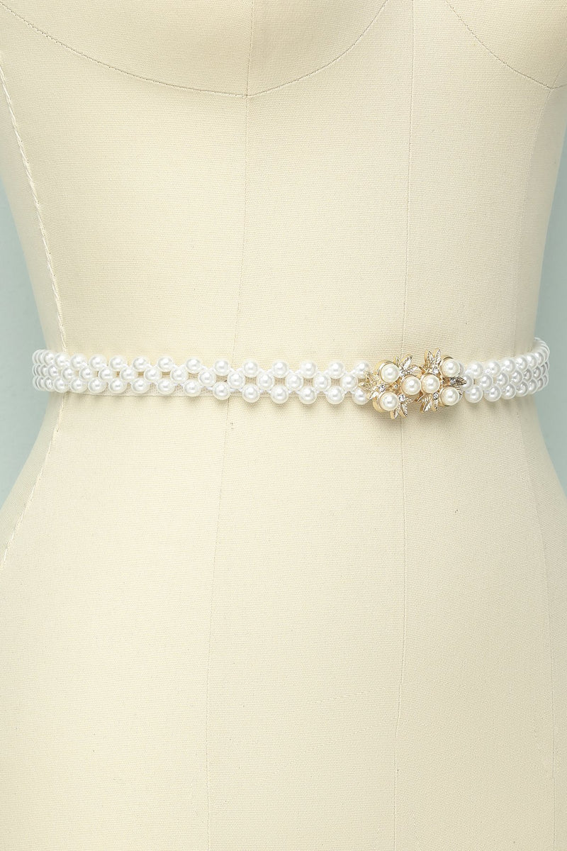 Load image into Gallery viewer, Pearl Rhinestone Bridal Sash - ZAPAKA