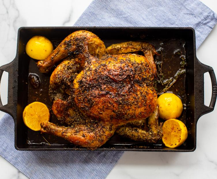 Herb Roasted Chicken With Lemon and Browned Butter