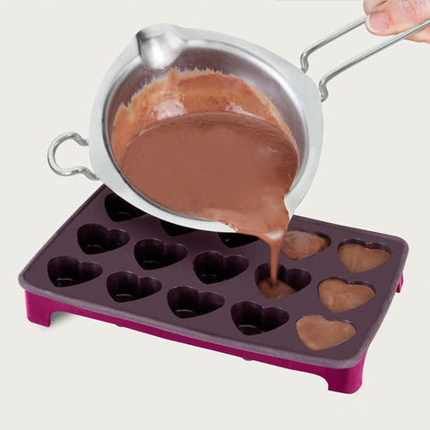 Chocolate Mould Tray Heart Shaped with Footed Tray by Metaltex
