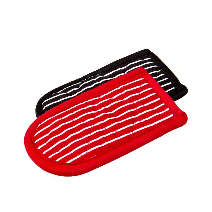 Striped Hot Handle Holders, 1 Black + 1 Red