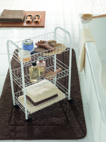 """Siena"" White Rolling Cart"