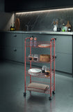 Ascona Copper 4-Tier Rolling Cart