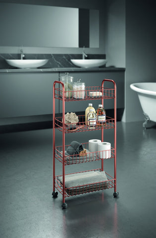 Ascona Copper 4-Tier Rolling Cart by Metaltex