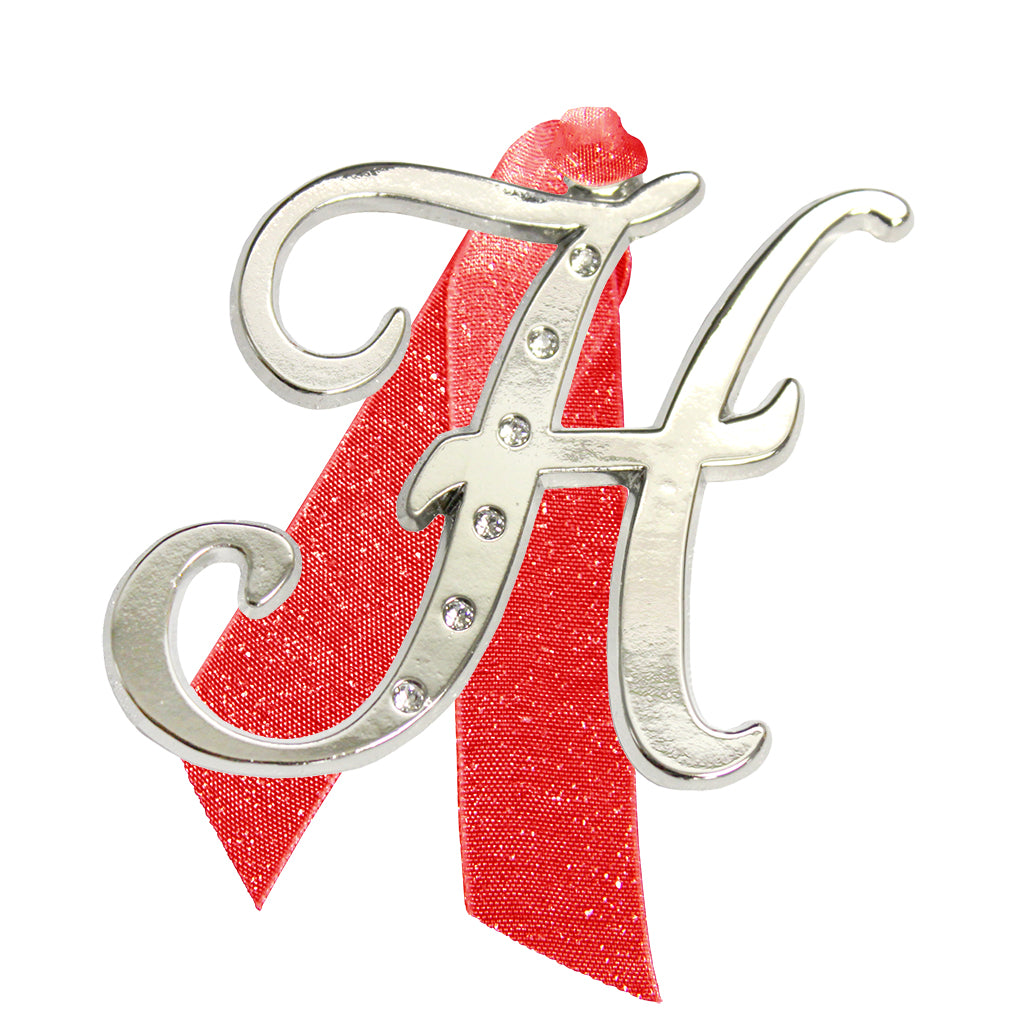 "Letter ""H"" Holiday ""Romantique Fonts"" Ornaments Made with Crystals from Swarovski™"