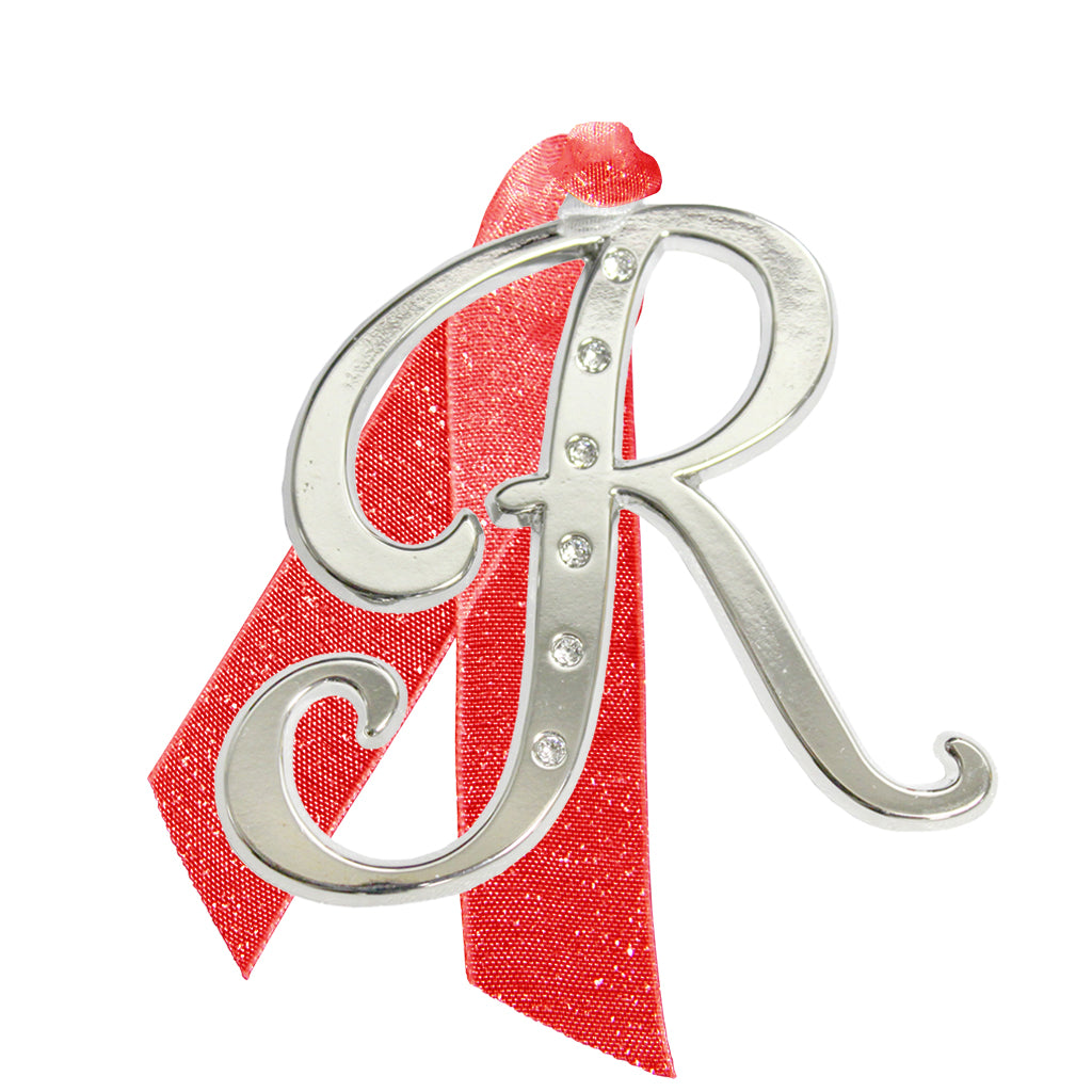"Letter ""R"" Holiday ""Romantique Fonts"" Ornaments Made with Crystals from Swarovski™"