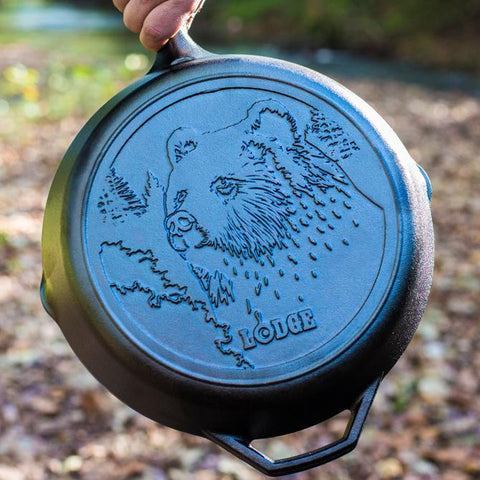 Lodge Wildlife Series- 12 Inch Cast Iron Skillet with Bear Scene