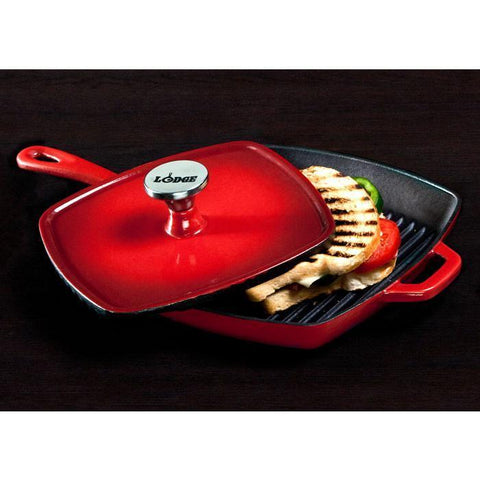 "Color Enamel Panini Press 8-1/4"" x 8-3/4"" (Red)"