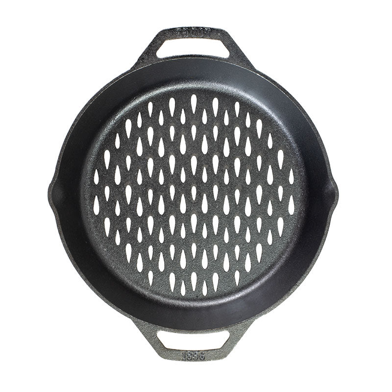 12 Inch Seasoned Cast Iron Dual Handle Grilling BBQ Basket by Lodge