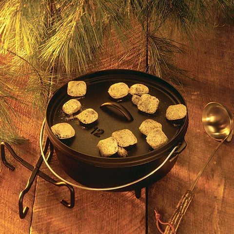 12 Inch / 6 Quart Camp Dutch Oven, 3.75 inch depth