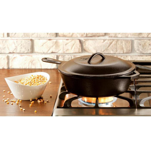 Cast Iron Covered Deep Skillet 10.25 inch / 3 Quart by Lodge