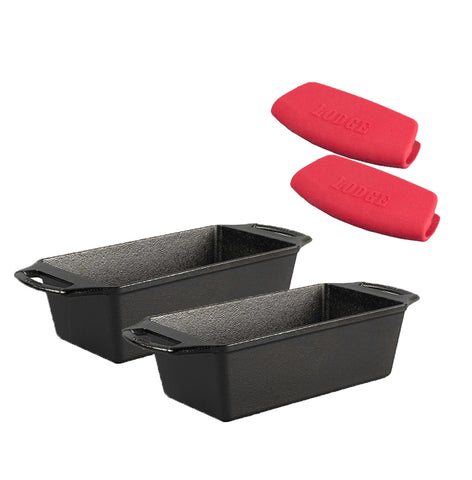 EXCLUSIVE COUNSELTRON BUNDLE (LIMITED TIME ONLY SAVE $20) 2 LODGE 8.5 Inch x 4.5 Inch Seasoned Cast Iron Loaf Pan with INCLUDED set of 2 Silicone Grips