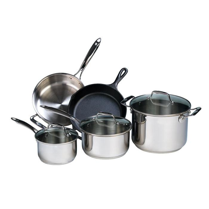 Lodge 8 Piece Stainless Steel and Cast Iron Set