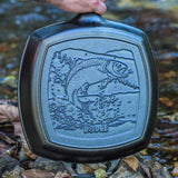 Lodge Wildlife Series- 10.5 inch Cast Iron Grill Pan with Fish Scene