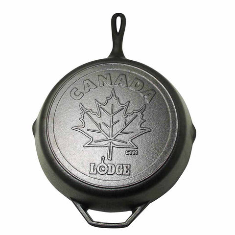 12 Inch Cast Iron Skillet with Maple Leaf Scene  by Lodge