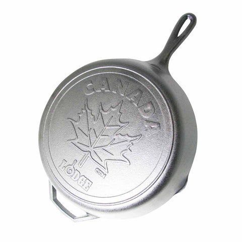 12 Inch Cast Iron Skillet with Maple Leaf Scene