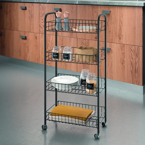 Ascona Lava 4 Tier Rolling Cart by Metaltex