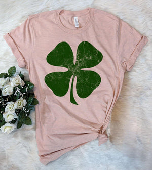 4 Leaf Clover Peach - St Patrick's Day T-Shirt - House of Rodan