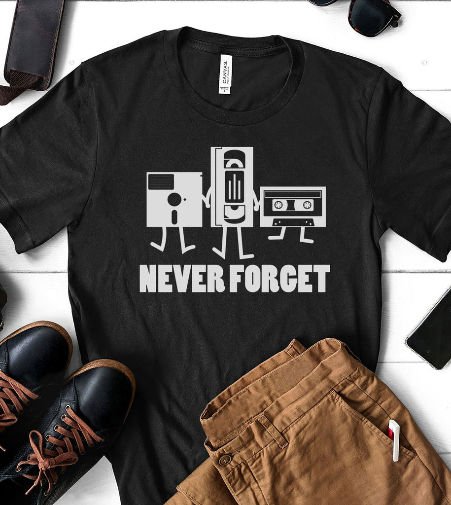 Never Forget VHS Floppy Disc - Funny Retro T-Shirt