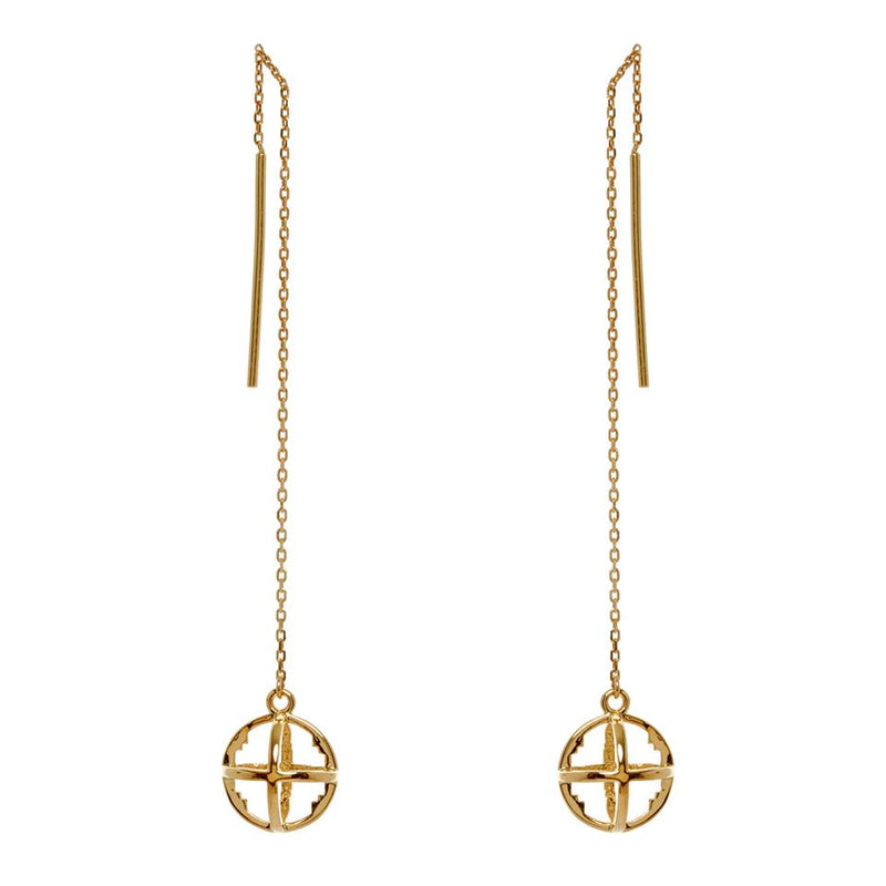 Baby Cage Threader Earrings Gold
