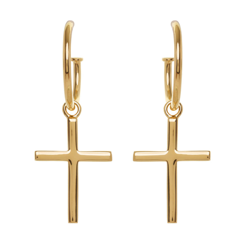 Baby Cross Hoops Gold