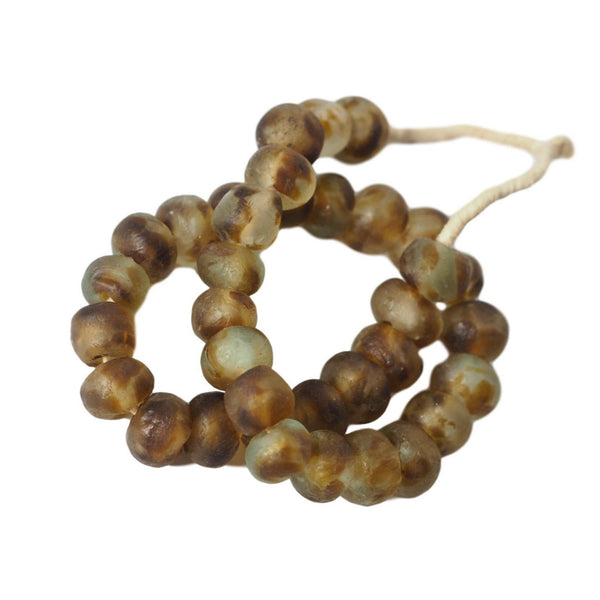 Jumbo Recycled Glass Decor Beads Honey and Amber