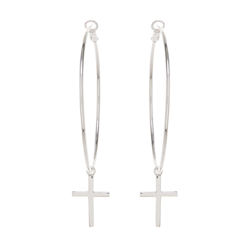 Silver Hoops with Cross