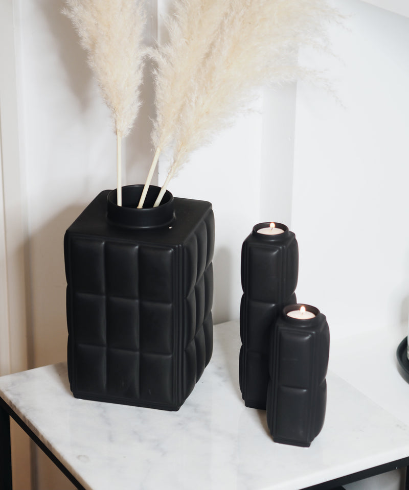 Quilted Black Candle Holder Large