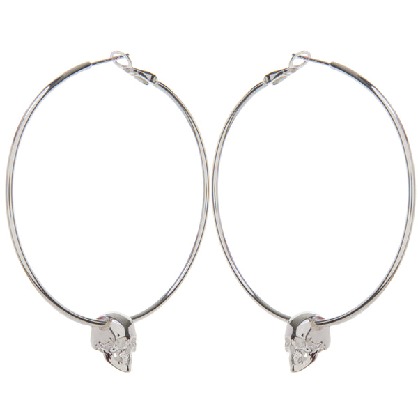 Silver Hoops with Skull