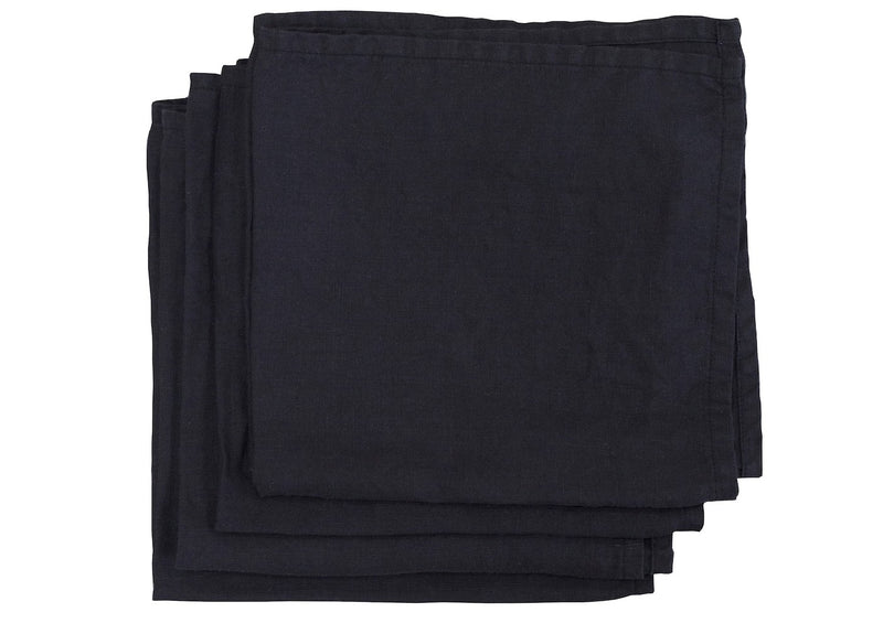 Black Linen Napkins - Set of 2