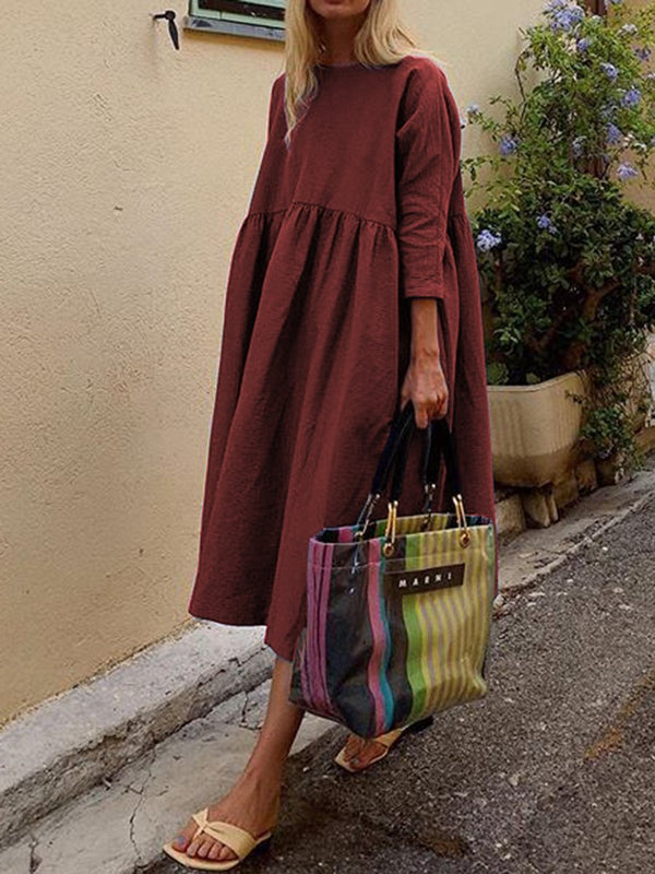 Fashionable Solid Color Long Sleeve Casual Midi Dress