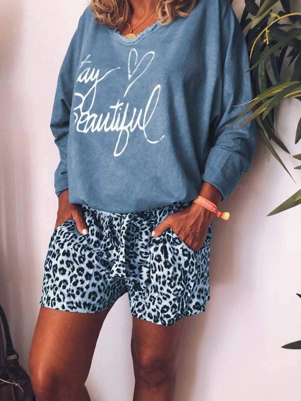 Casual Loose Top Leopard Print Shorts Set