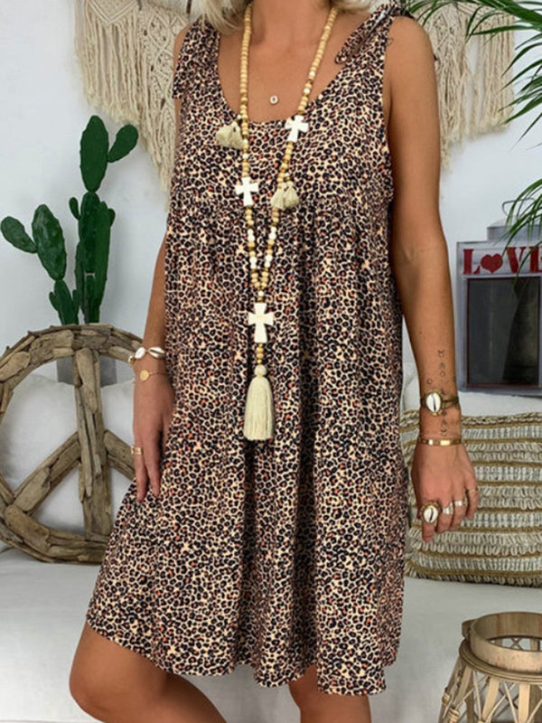 Sleeveless Tank Leopard Midi Dress