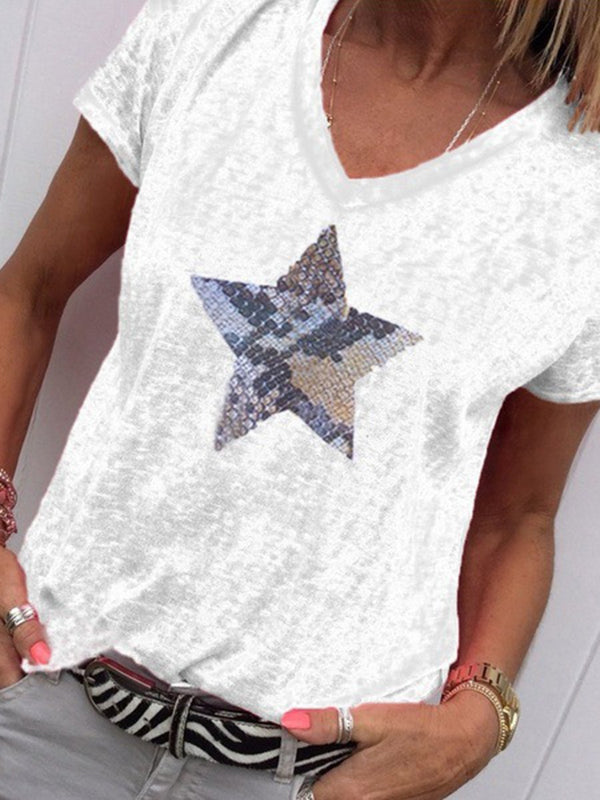 Star-sequined V-neck Casual Top T-shirt